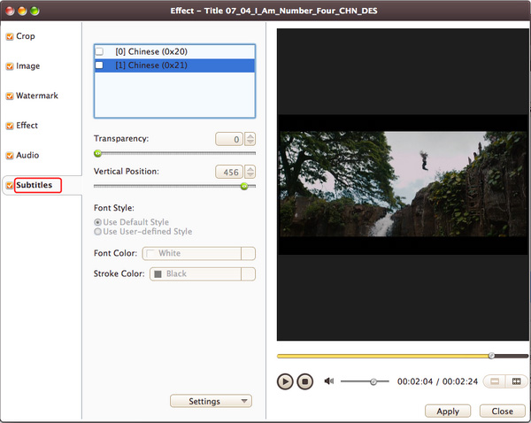 Add and adjust subtitle to video