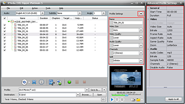 Convert DVD to AVI format