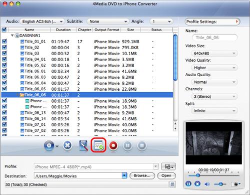 Convert DVD to iPhone movie on Mac