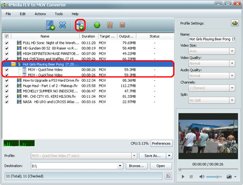 How to convert FLV files to MOV