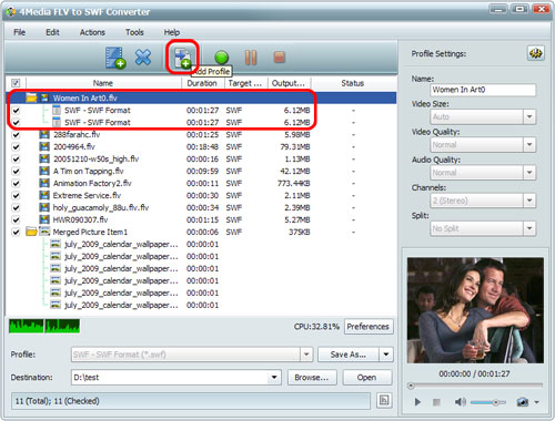 Convert FLV to SWF files