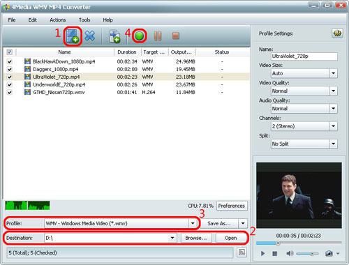 Converter WMV to MP4