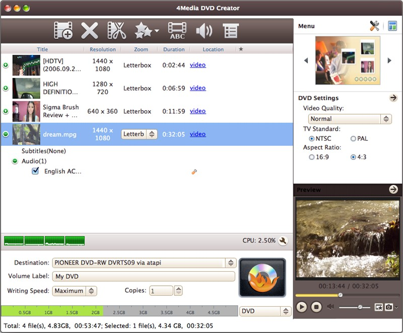 4Media DVD Creator for Mac - create DVD on Mac