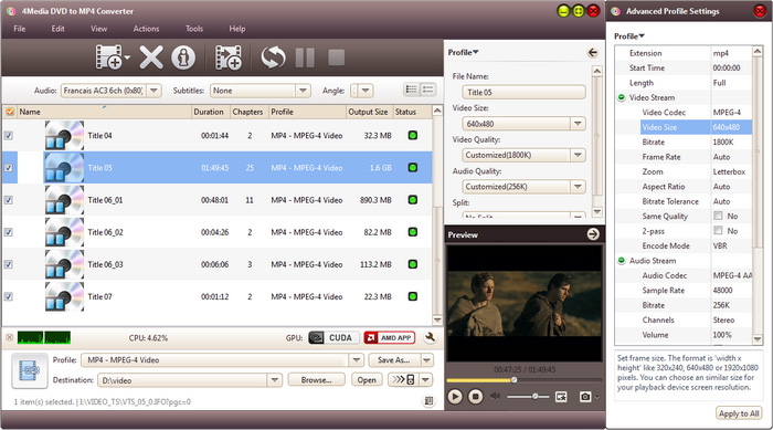 4Media DVD to MP4 Converter - convert DVD to MP4 video